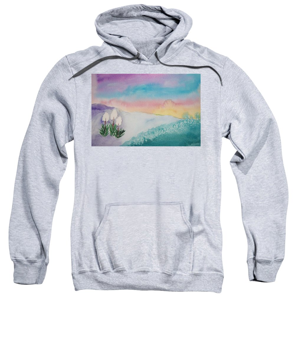 Landscape Sweatshirt featuring the painting Yuccas At Dawn by B Kathleen Fannin