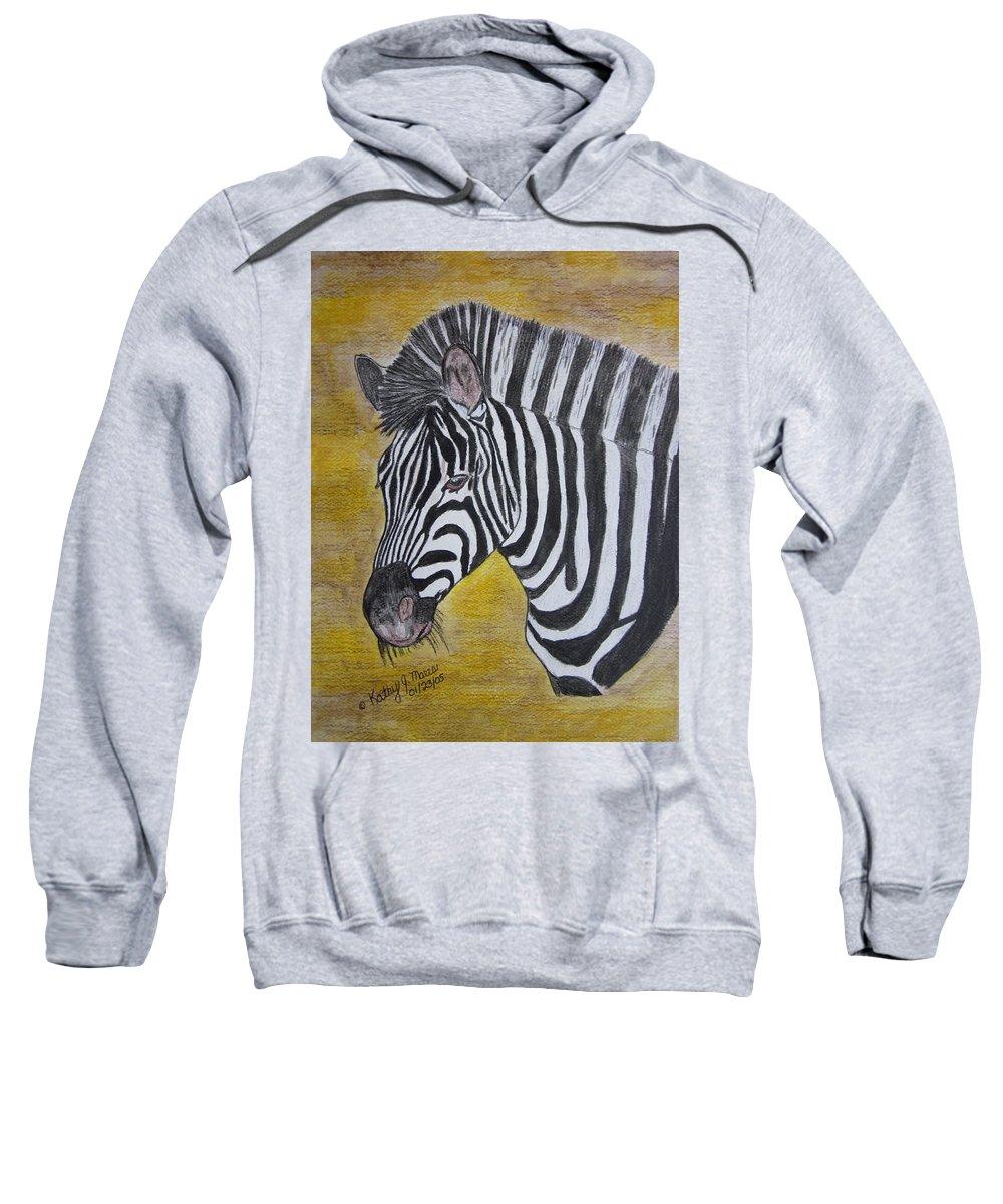 Zebra Sweatshirt featuring the painting Zebra Portrait by Kathy Marrs Chandler