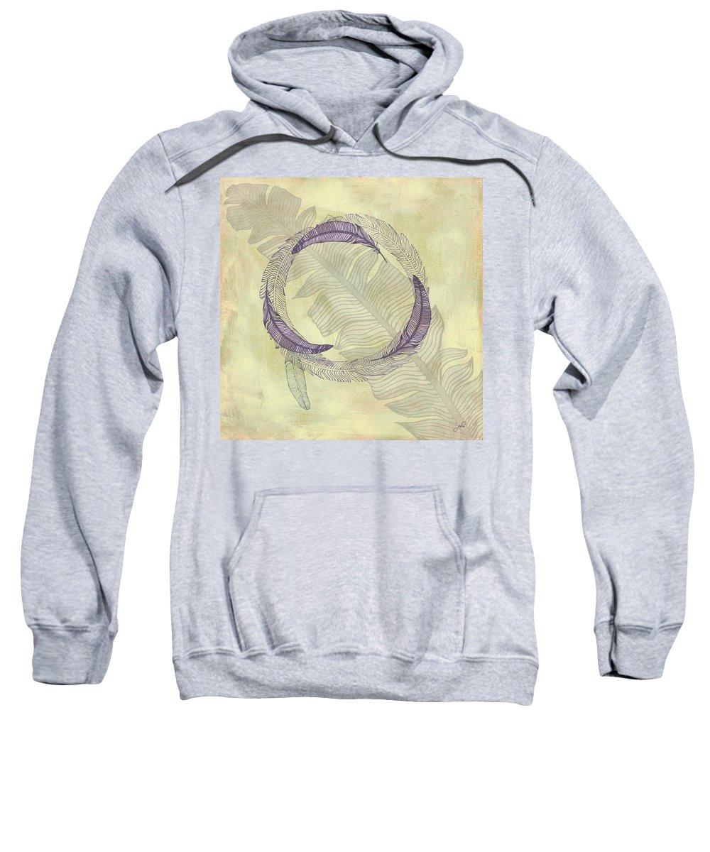 Popular Sweatshirt featuring the digital art Zen Feather Circle I I I by Paulette B Wright