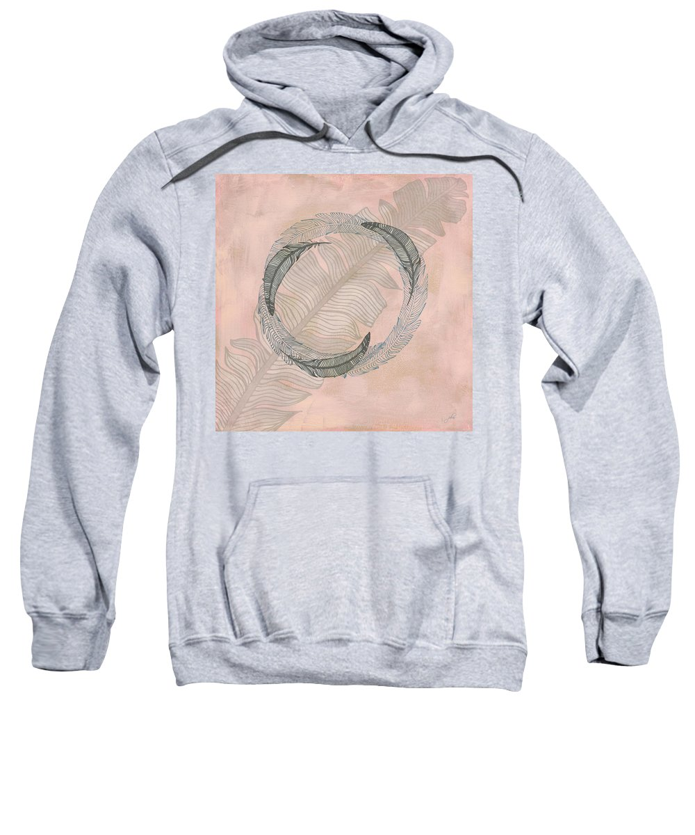 Popular Sweatshirt featuring the digital art Zen Feather Circle I by Paulette B Wright