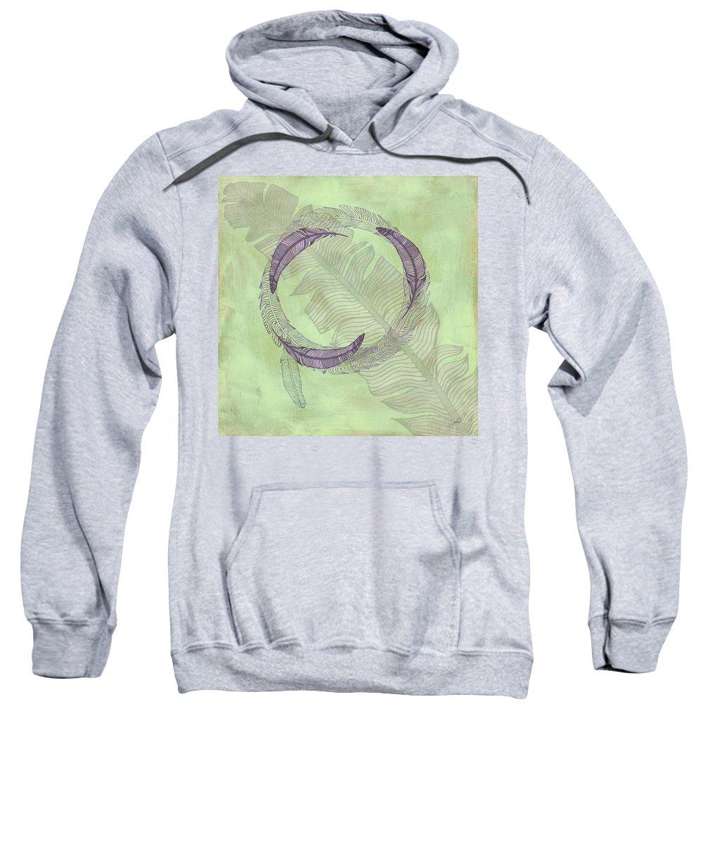 Popular Sweatshirt featuring the digital art Zen Feather Circle I V by Paulette B Wright