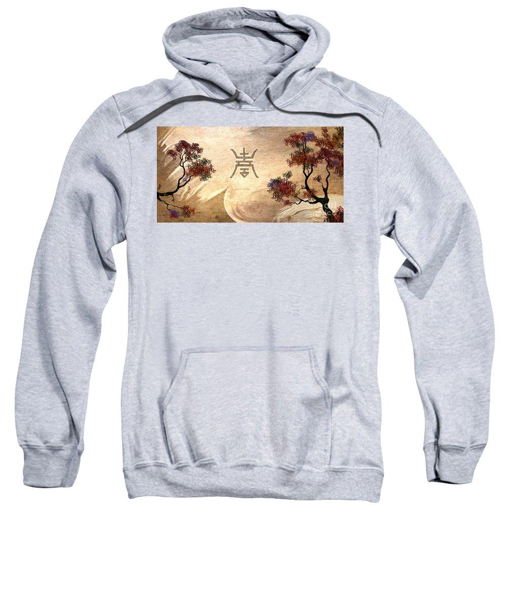 Zen Sweatshirt featuring the digital art Zen Tree - Two Trees Version by Peter Awax