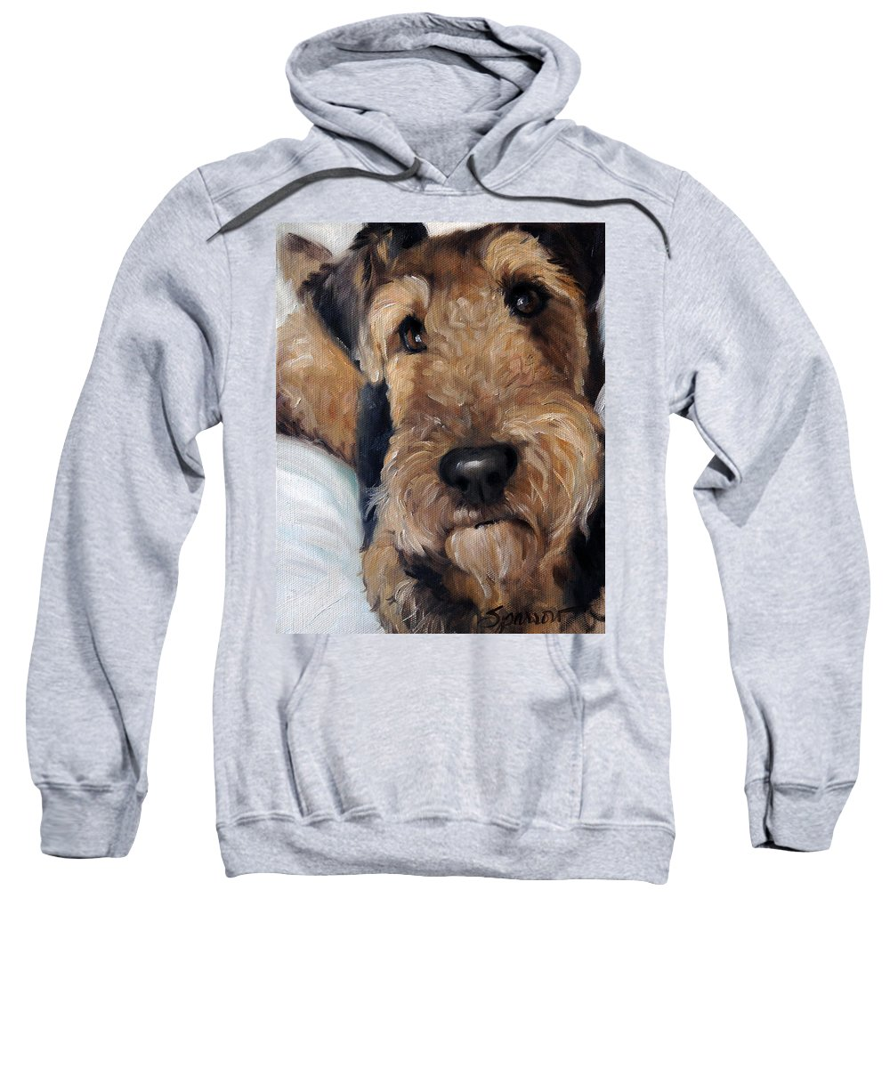 Airedale Sweatshirt featuring the painting Zeta by Mary Sparrow