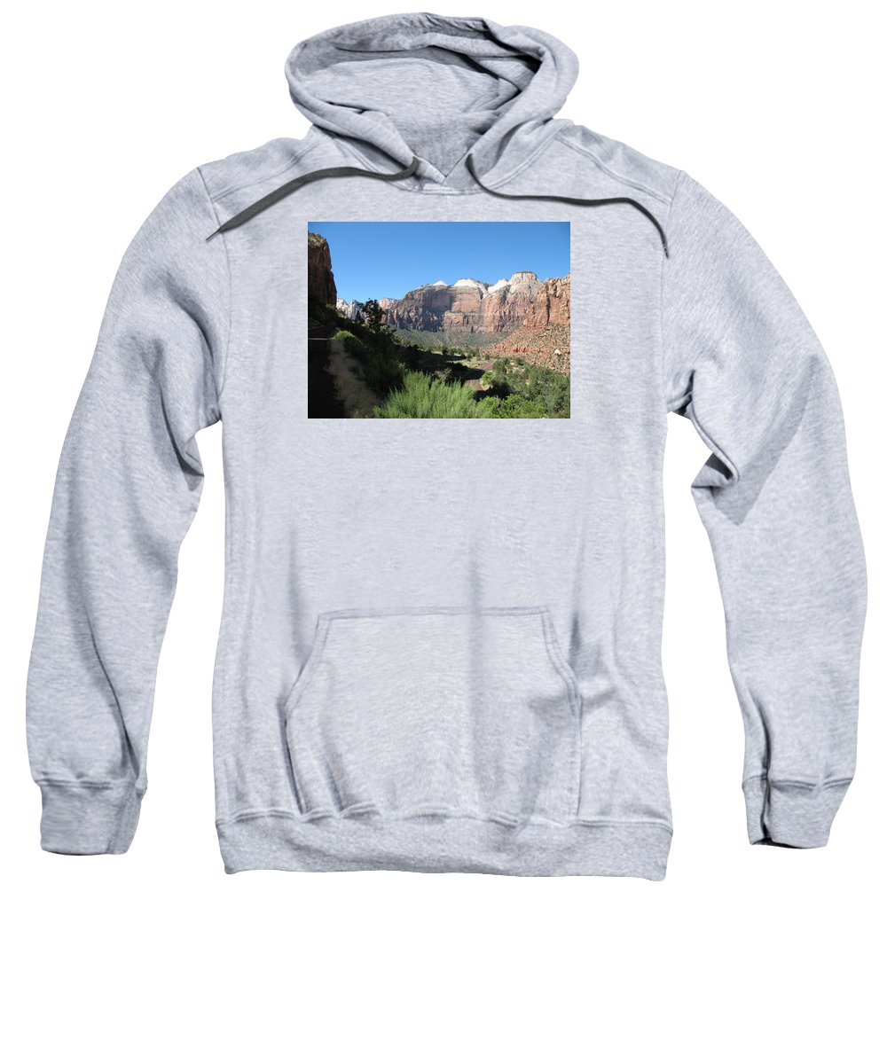 Moutains Sweatshirt featuring the photograph Zion Canyon View by Christiane Schulze Art And Photography