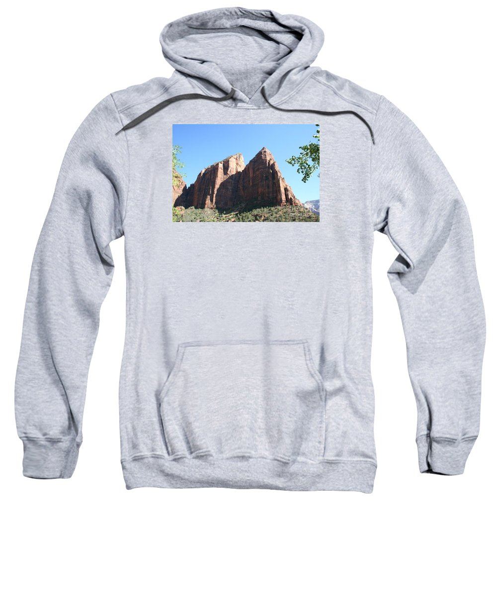 Mountians Sweatshirt featuring the photograph Zion Park Red Rocks by Christiane Schulze Art And Photography