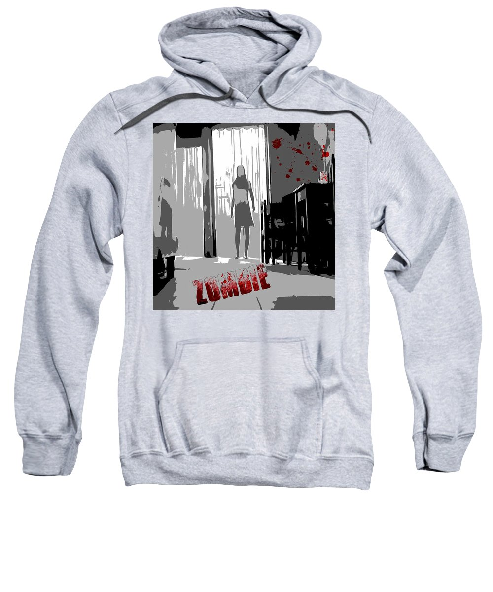 Zombie Attack Sweatshirt featuring the digital art Zombie Attack by Dan Sproul