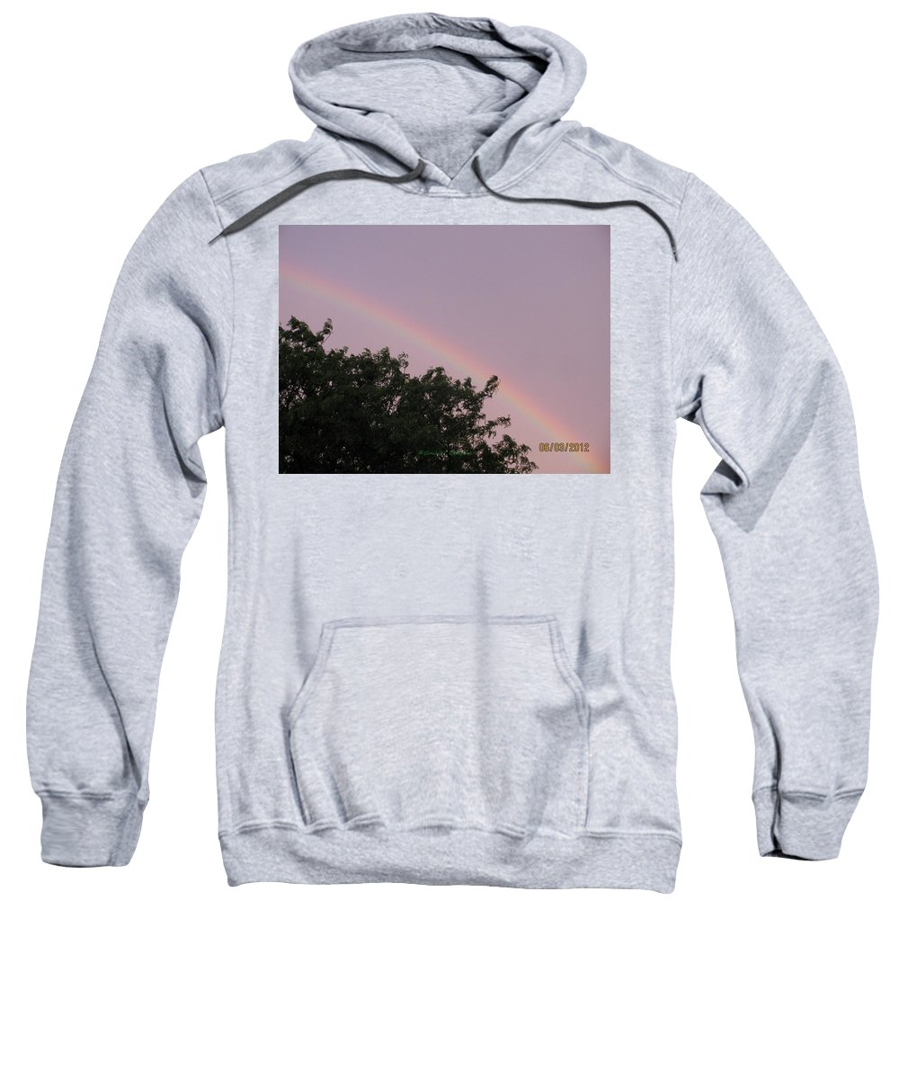 Rainbow Sweatshirt featuring the photograph  Rain And Sun Sync Bow by Sonali Gangane