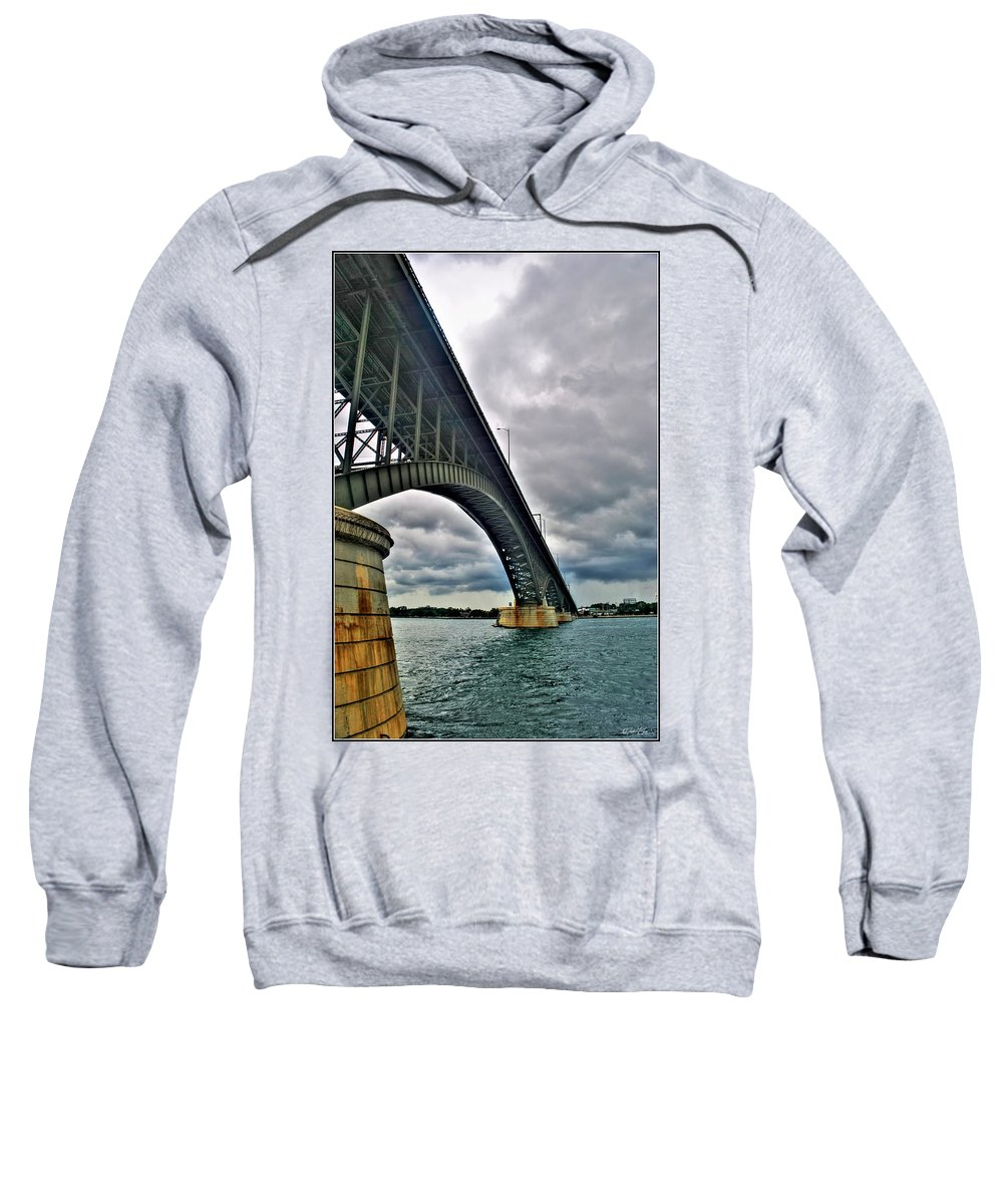 Sweatshirt featuring the photograph 009 Stormy Skies Peace Bridge Series by Michael Frank Jr