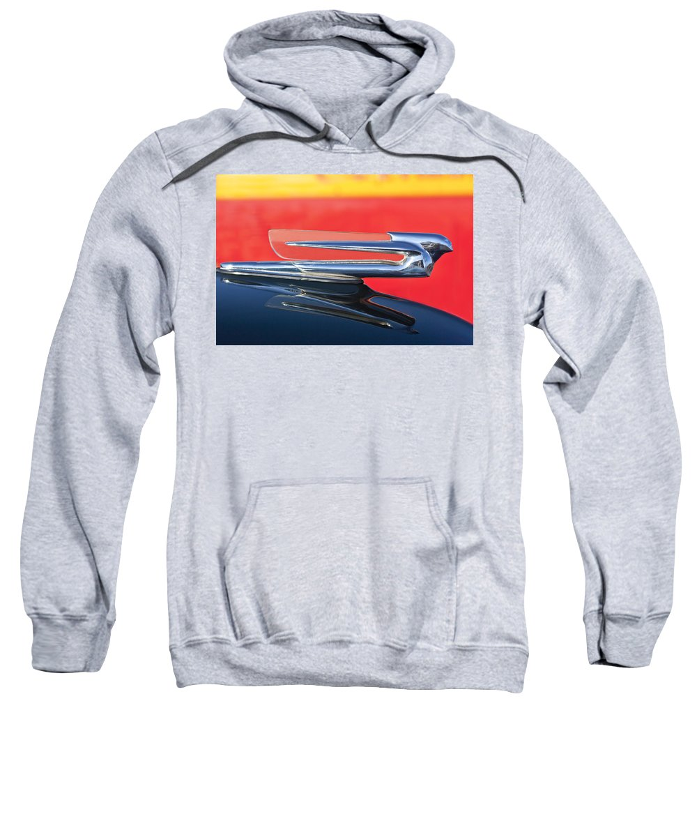 1940 Cadillac Sweatshirt featuring the photograph 1940 Cadillac Hood Ornament by Jill Reger