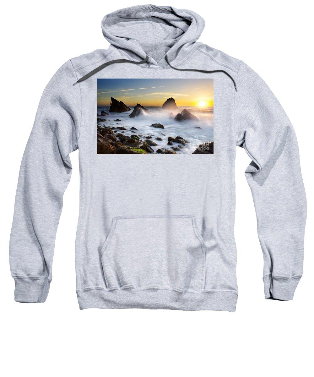 Adraga Sweatshirt featuring the photograph Adraga Beach by Carlos Caetano