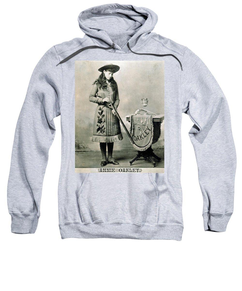 1890 Sweatshirt featuring the photograph Annie Oakley (1860-1926) by Granger