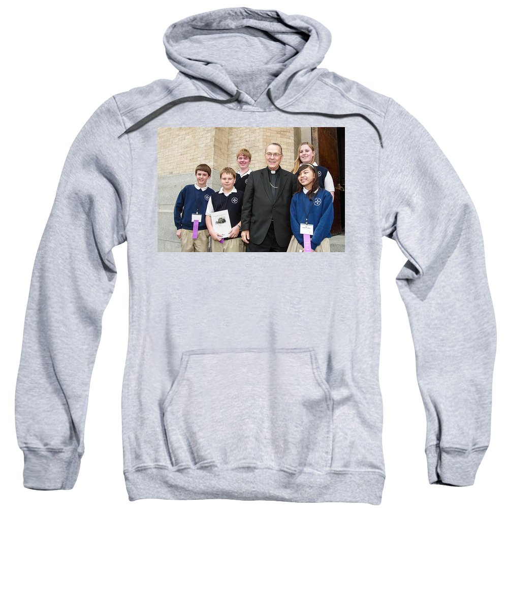 Archbishop Brunett Sweatshirt featuring the photograph Archbishop Alex Brunett by Mike Penney