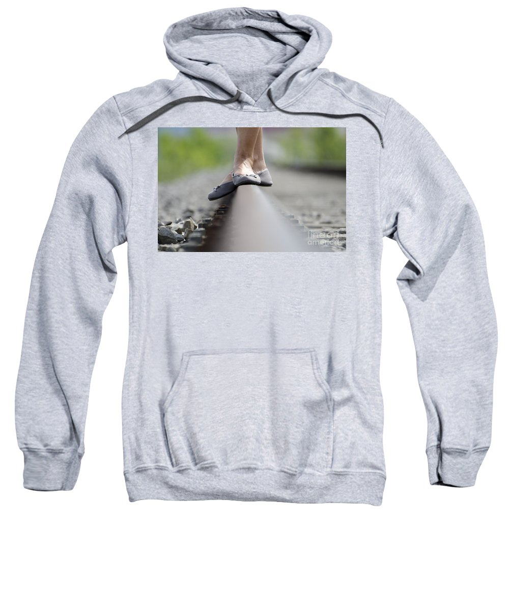 Shoes Sweatshirt featuring the photograph Balance On Railroad Tracks by Mats Silvan