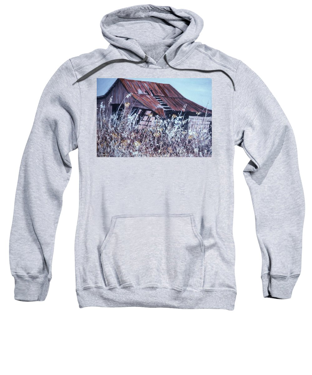 Rustic Sweatshirt featuring the painting Barn in Sunlight by Ben Kiger