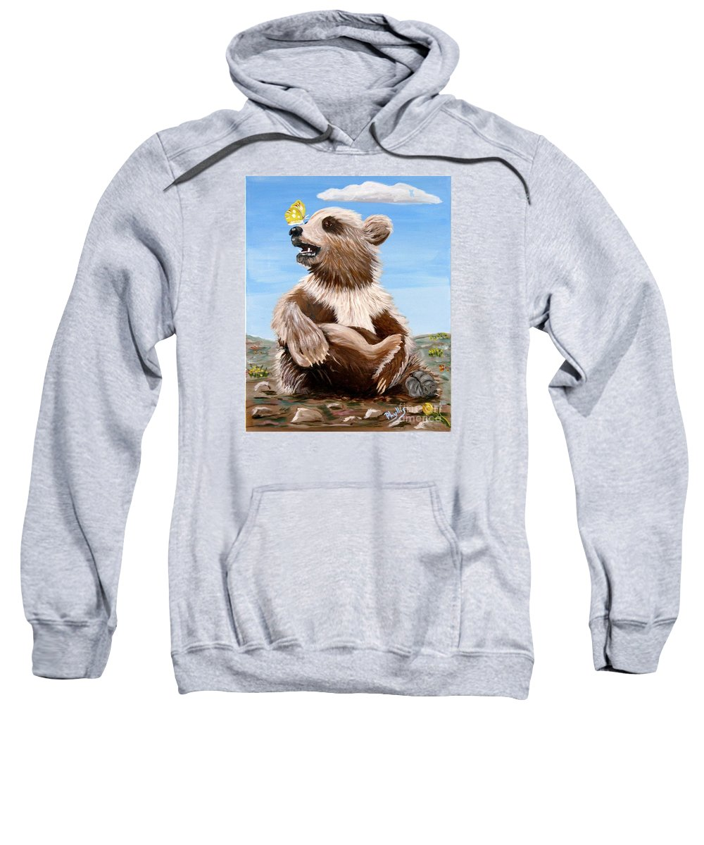 Baby Bear Sweatshirt featuring the painting Ben Bear And Butterfly by Phyllis Kaltenbach