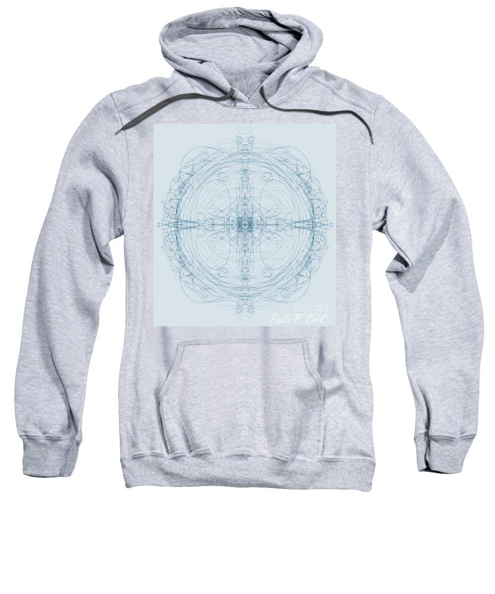 Blublue Sweatshirt featuring the digital art Blueprint by Paula Cork