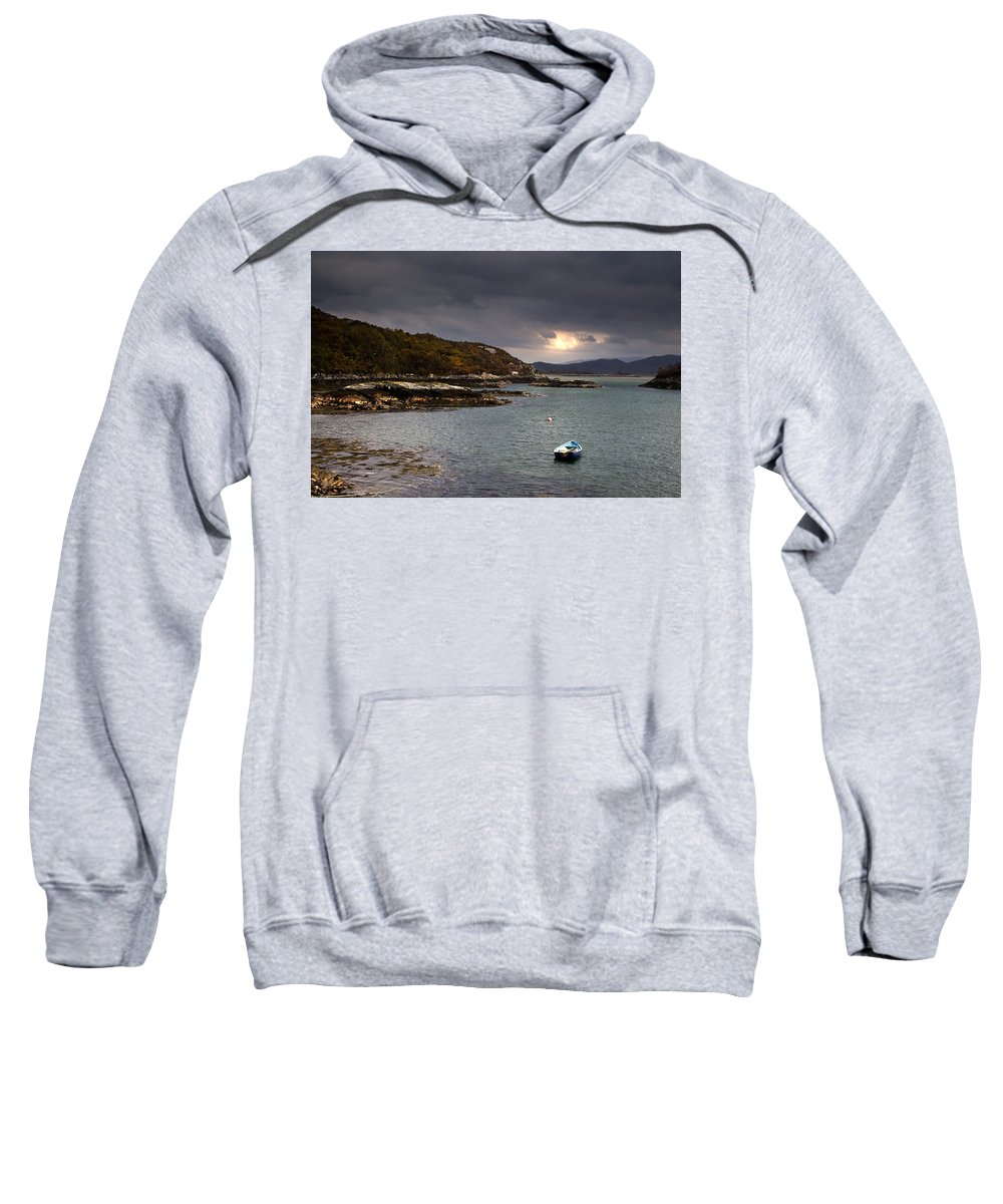 Anchored Sweatshirt featuring the photograph Boat In Water, Loch Sunart, Scotland by John Short