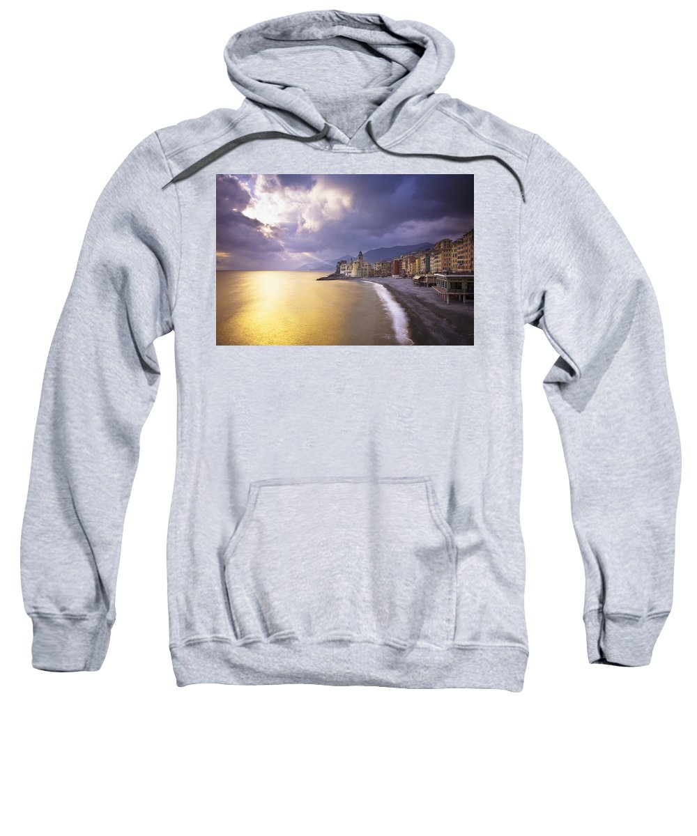 Buildings Sweatshirt featuring the photograph Buildings Along The Coast At Sunset by David DuChemin