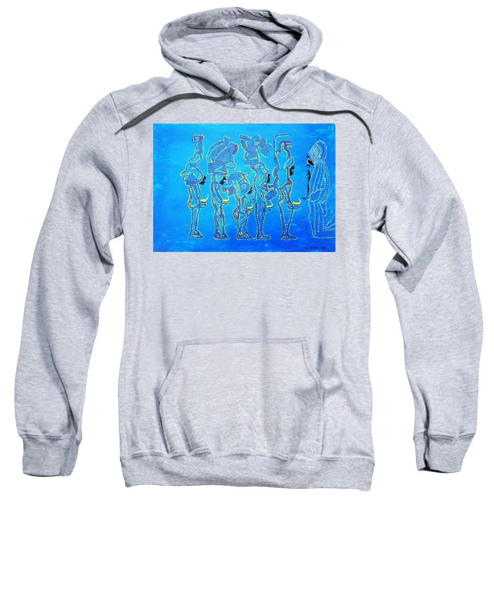 Jesus Sweatshirt featuring the painting Dinka Wise Virgins by Gloria Ssali