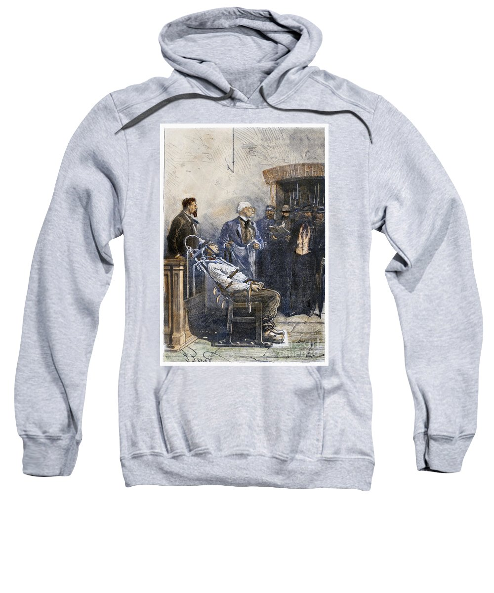 1890 Sweatshirt featuring the photograph Electrocution, 1890 by Granger
