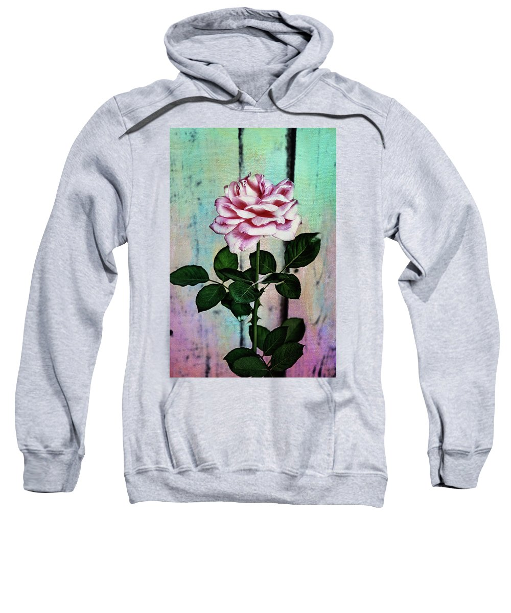 Photo Collage Sweatshirt featuring the photograph Garden Rose by Linda Dunn