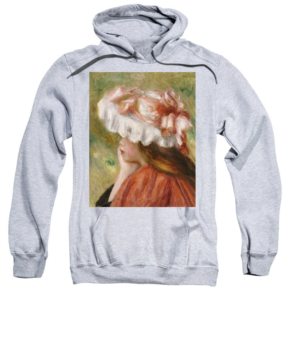 Impressionist; Impressionism; Portrait; Female; Woman Sweatshirt featuring the painting Head Of A Young Girl In A Red Hat by Pierre Auguste Renoir