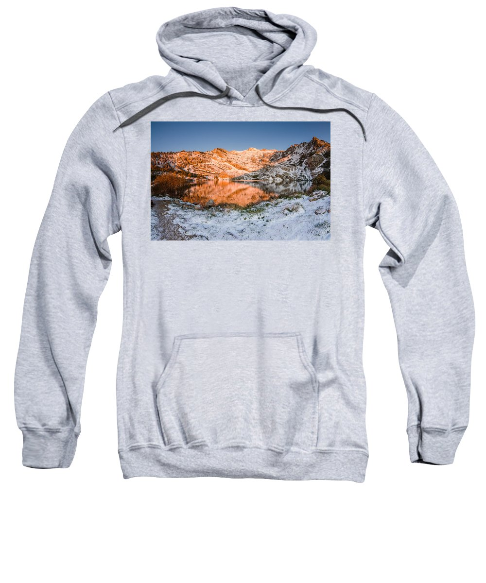 Great Basin Sweatshirt featuring the photograph June Snowfall At Angel Lake by Greg Nyquist