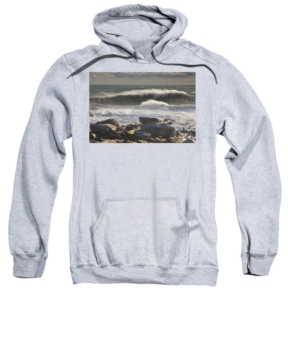 Maine Sweatshirt featuring the photograph Large Waves Near Pemaquid Point On The Coast Of Maine by Keith Webber Jr