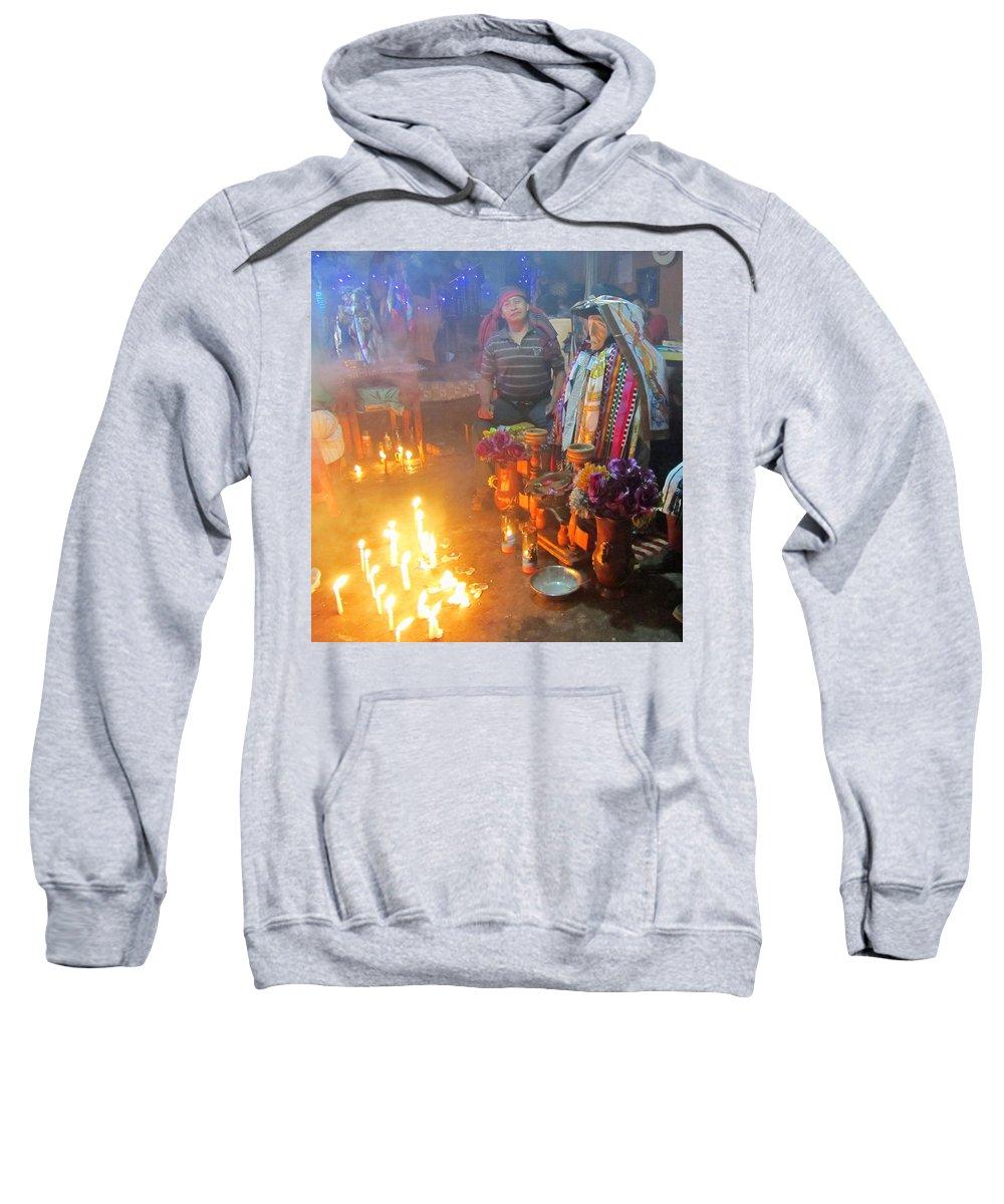 Guatemala Sweatshirt featuring the photograph Maximon Ceremony In Guatemala by Elizabeth Rose