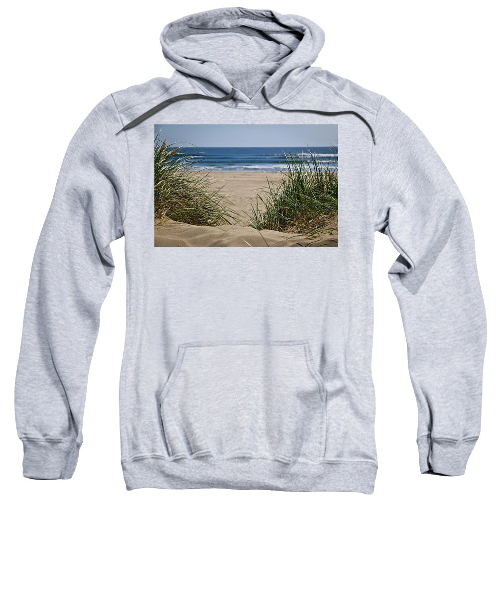 Sand Dunes Sweatshirt featuring the photograph Ocean View With Sand by Athena Mckinzie