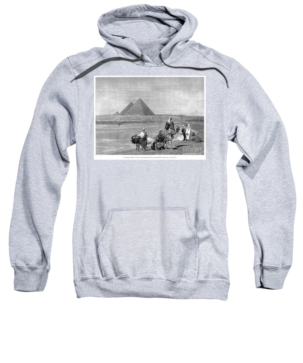 1882 Sweatshirt featuring the photograph Pyramids At Giza, 1882 1 by Granger