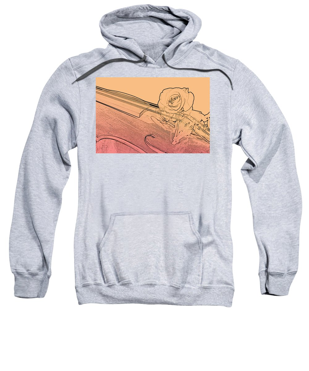 Violin Sweatshirt featuring the photograph Red Rose Violin Viola by M K Miller