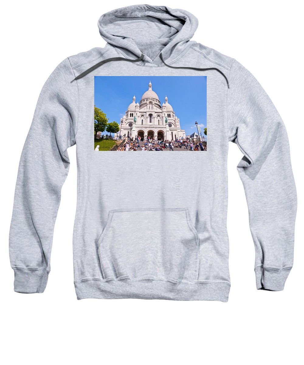 France Sweatshirt featuring the photograph Sacre Coeur Basilica Paris France by Jon Berghoff