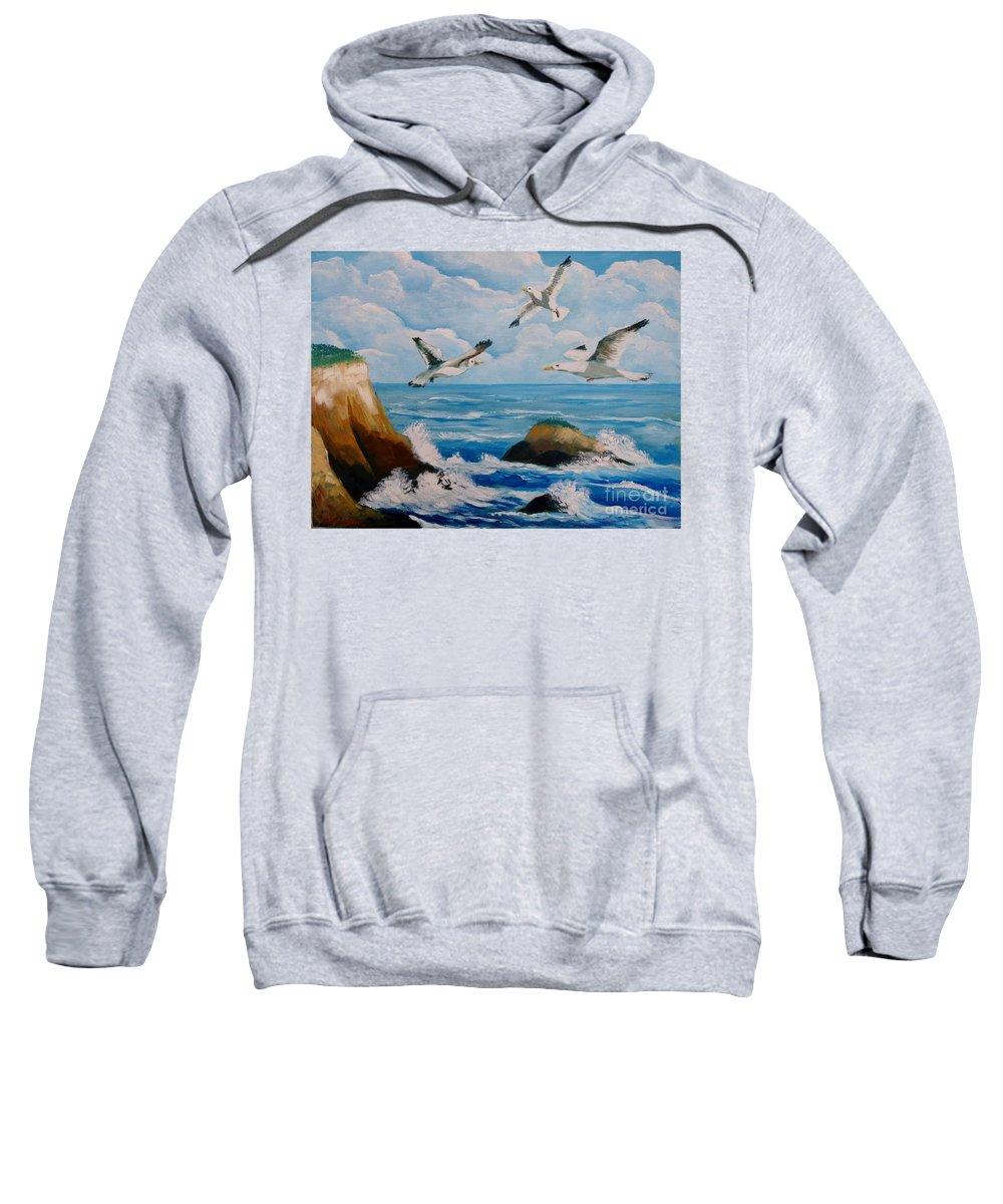 Sea Sweatshirt featuring the painting Seagulls by Jean Pierre Bergoeing