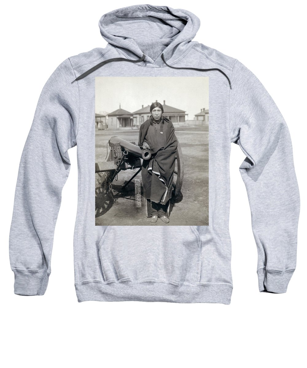 1891 Sweatshirt featuring the photograph Sioux Warrior, 1891 by Granger