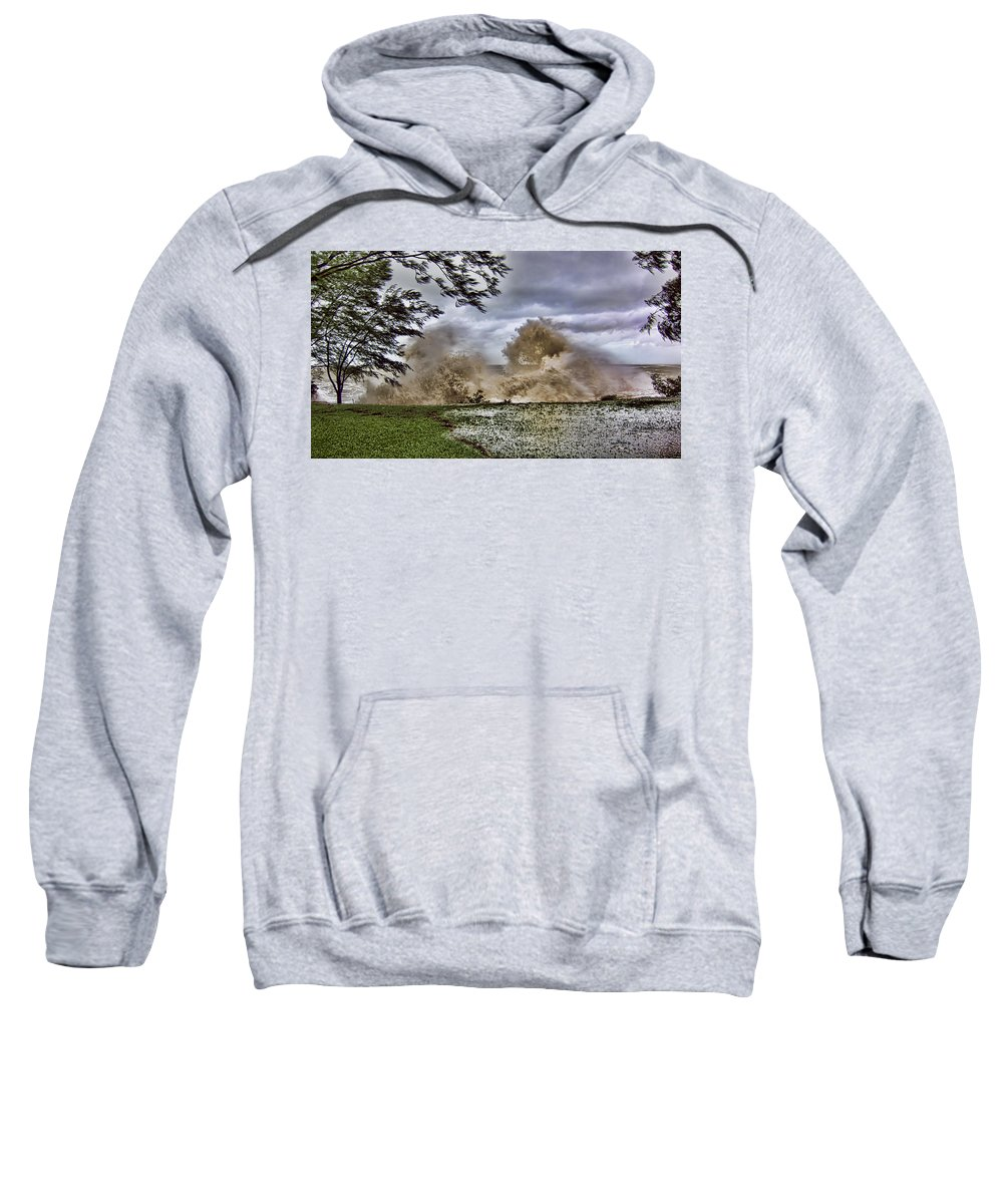 Monsoon Sweatshirt featuring the photograph Stormy Seas by Douglas Barnard