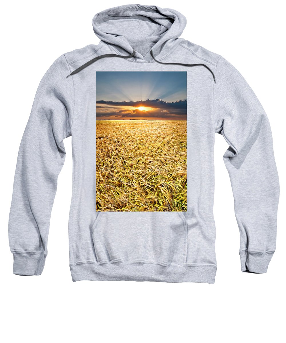 Field Sweatshirt featuring the photograph Sunset Wheat by Meirion Matthias