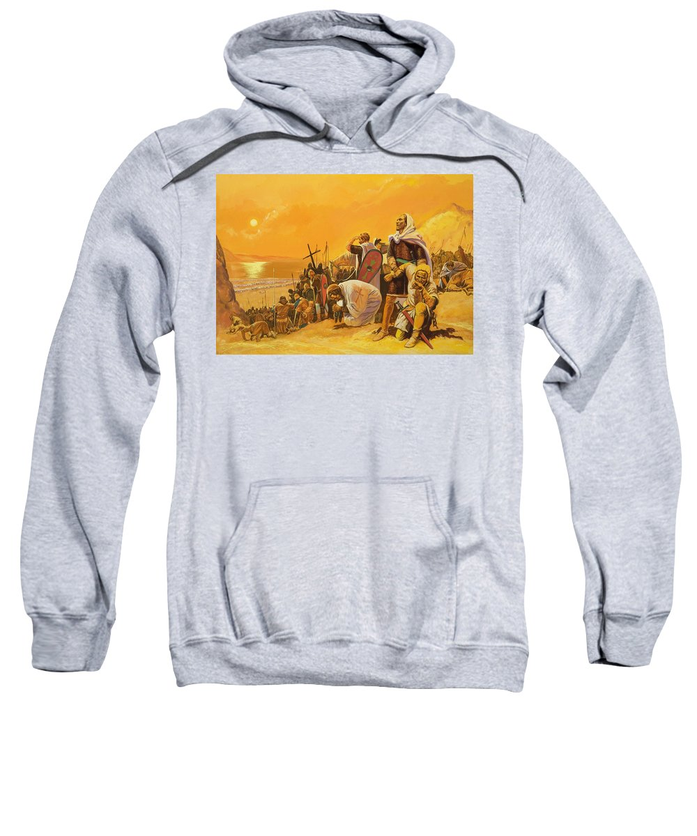 Orange; Soldier; Middle East; Heat; Sun; Cross; Christianity; Christendom; Suffering; Exhaustion; Water; Land; Desert; Shield; Armour; C11th; Croisades; Holy War; Arid; Parched; Harsh Conditions; Male; Children's Illustration Sweatshirt featuring the painting The Crusades by Gerry Embleton