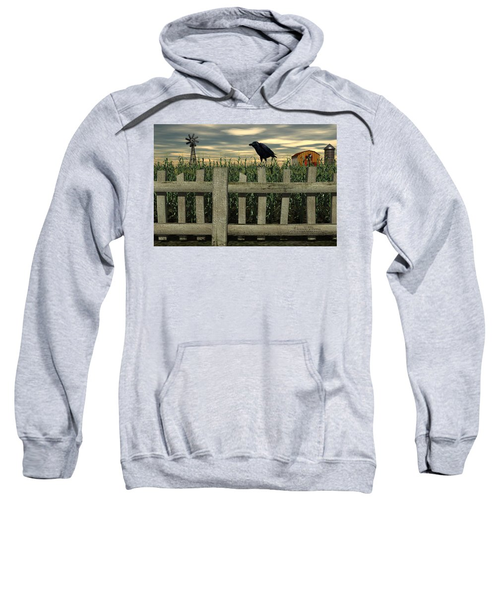Raven Sweatshirt featuring the digital art The Raven by Michael Stowers