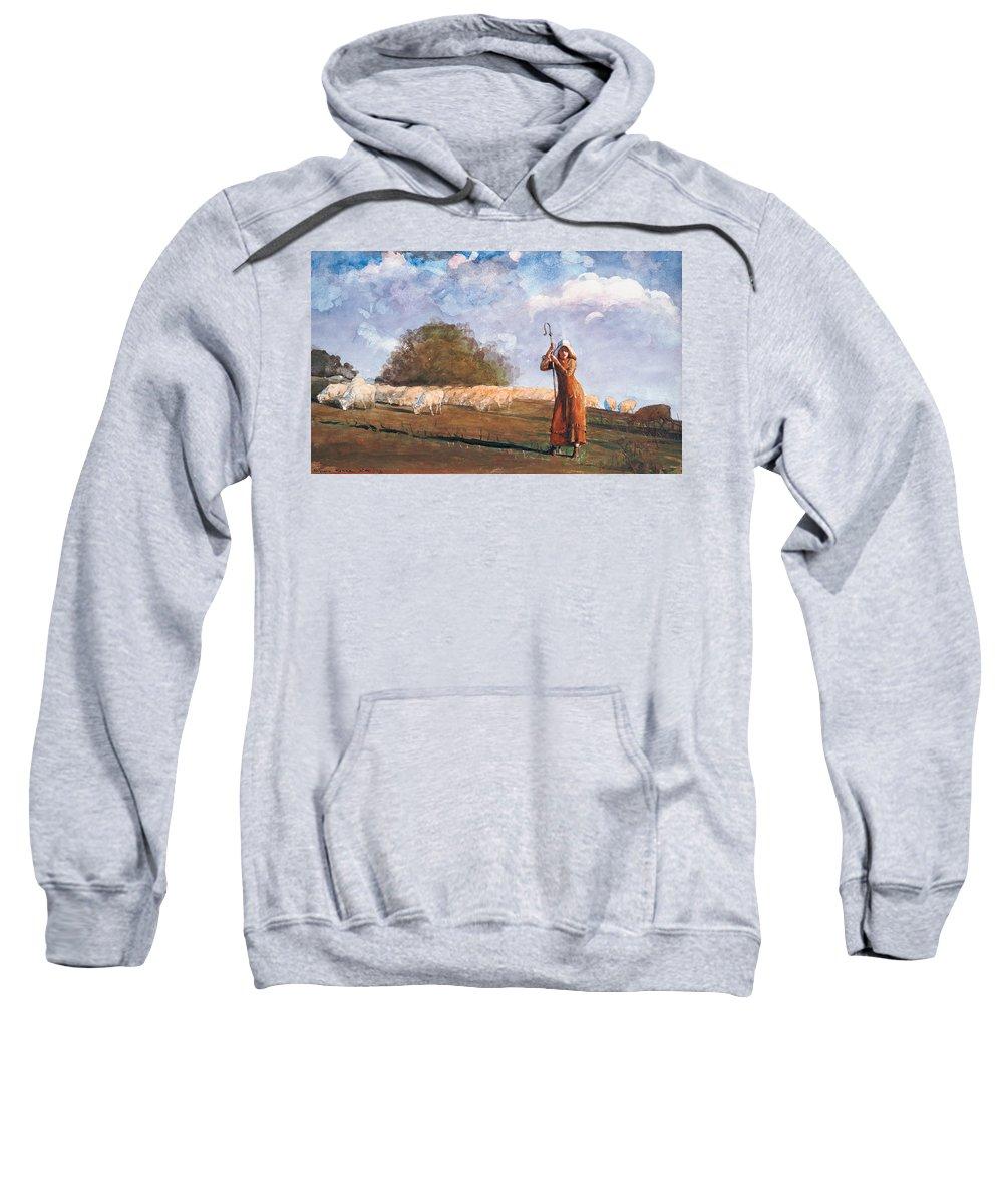 The Young Shepherdess Sweatshirt featuring the painting The Young Shepherdess by Winslow Homer