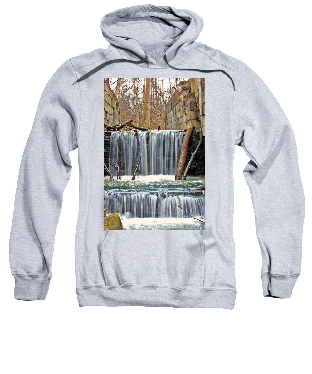 Side Cut Park Sweatshirt featuring the photograph Waterfalls At Old Erie Canal Locks by Jack Schultz