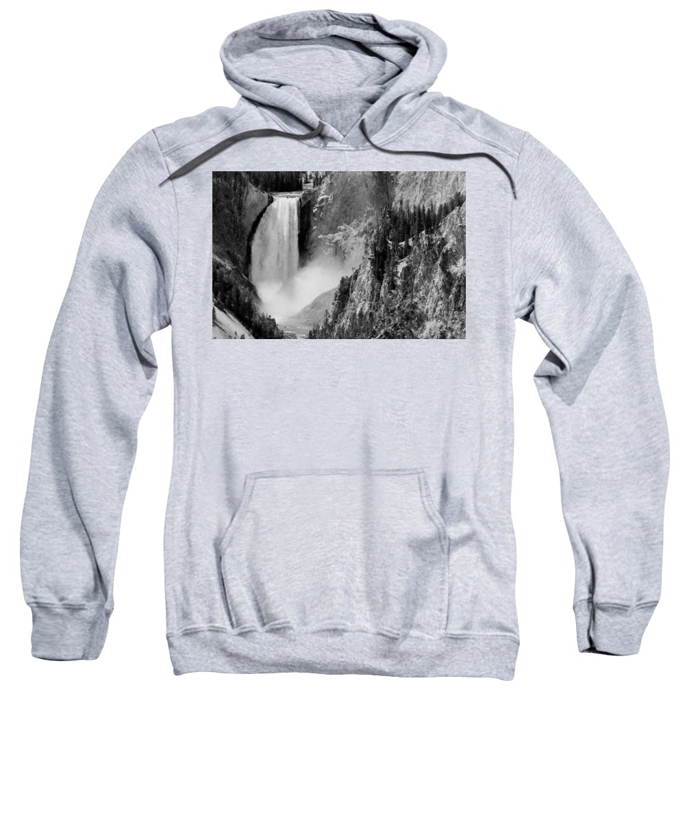 Yellowstone Sweatshirt featuring the photograph Yellowstone Waterfalls In Black And White by Sebastian Musial