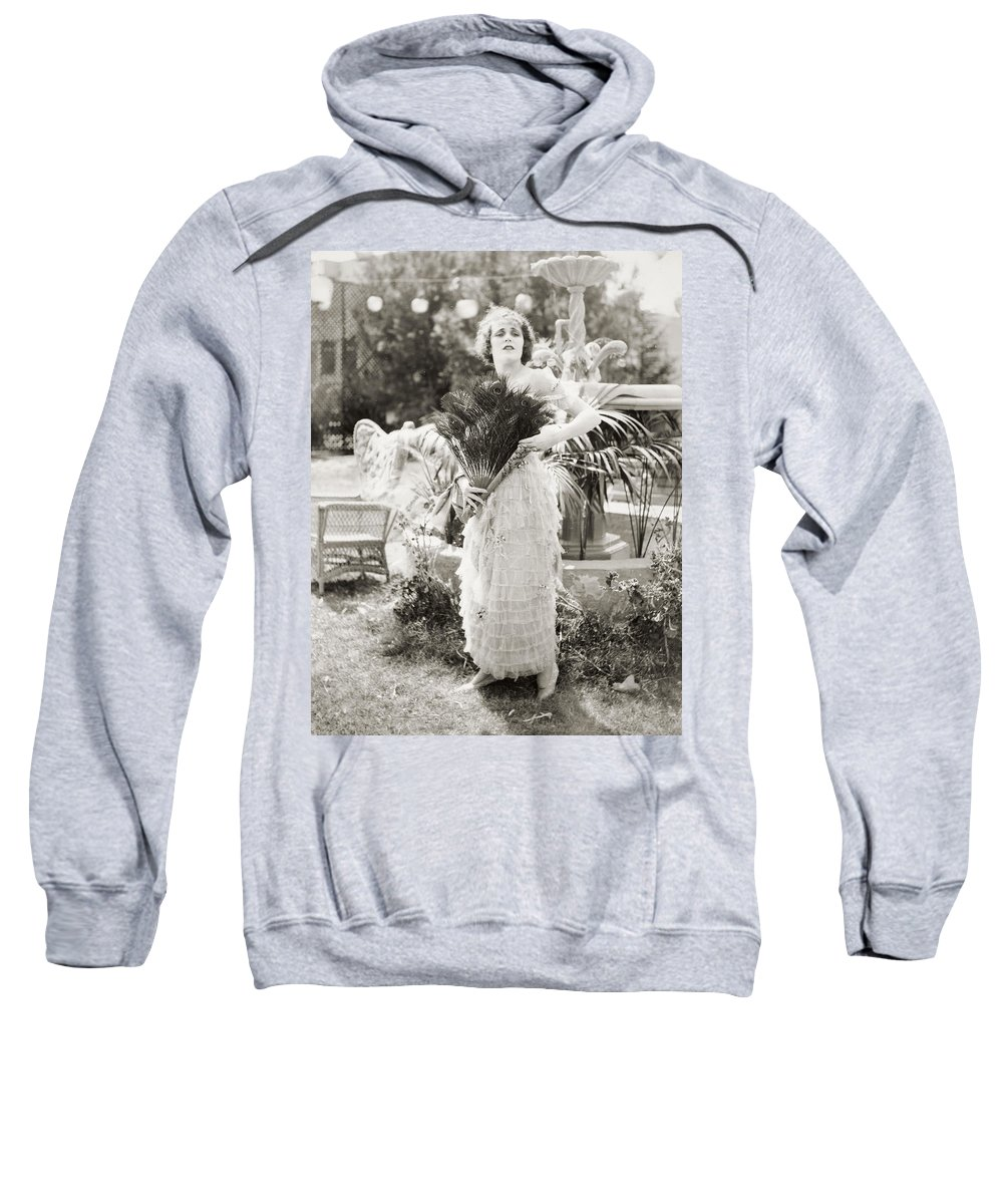 -women Single Figures- Sweatshirt featuring the photograph Silent Film Still: Woman by Granger