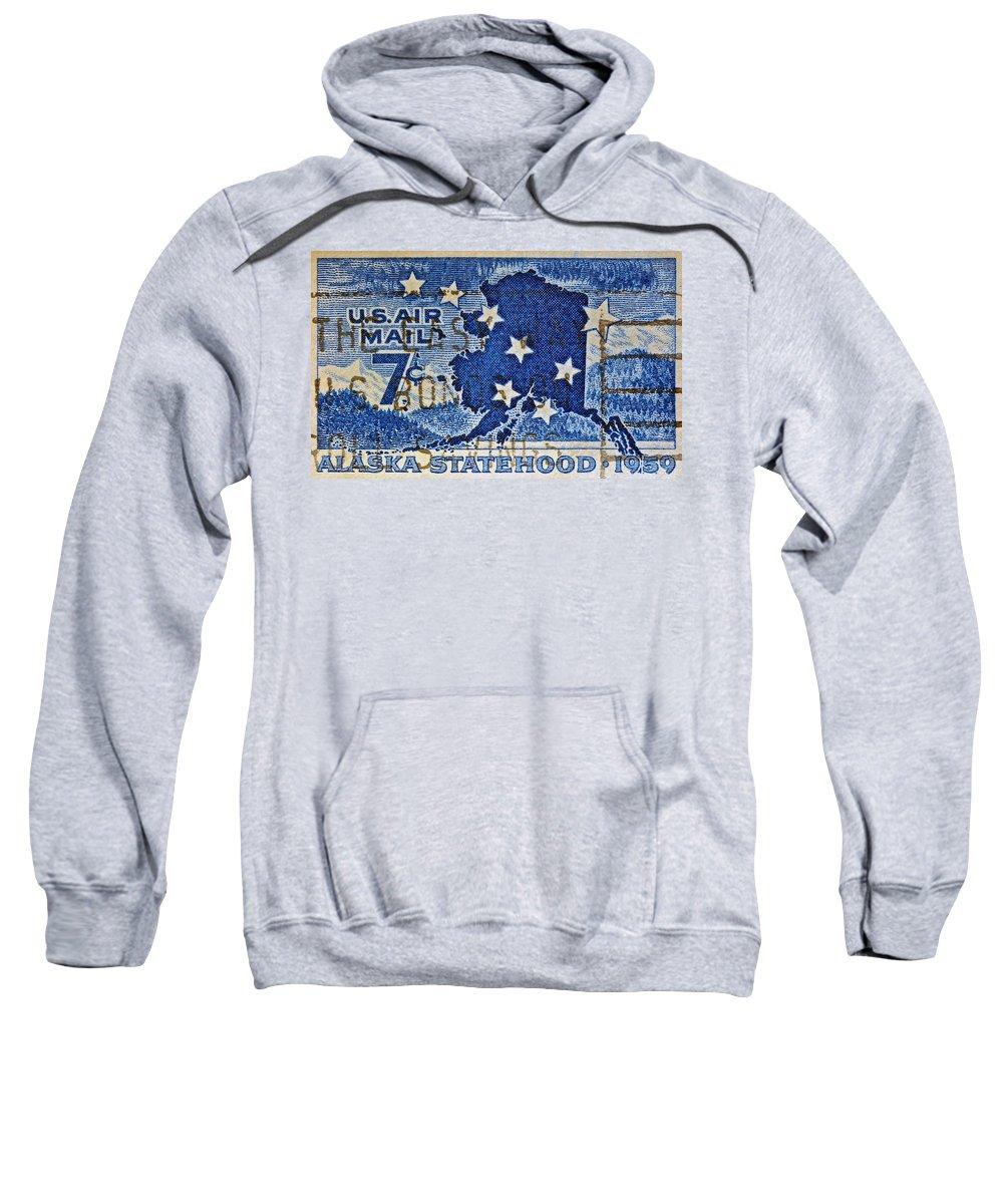 1959 Sweatshirt featuring the photograph 1959 Alaska Statehood Stamp by Bill Owen