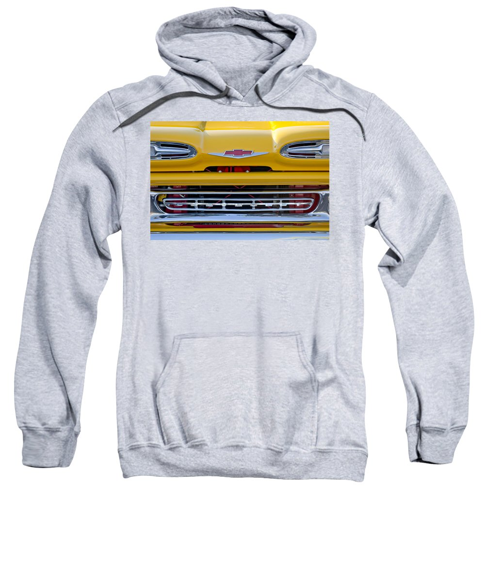 1961 Chevrolet Sweatshirt featuring the photograph 1961 Chevrolet Grille Emblem by Jill Reger