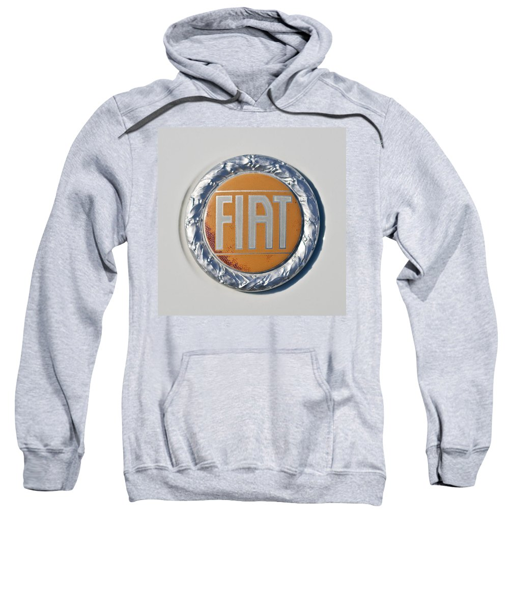 1977 Fiat 124 Spider Sweatshirt featuring the photograph 1977 Fiat 124 Spider Emblem by Jill Reger