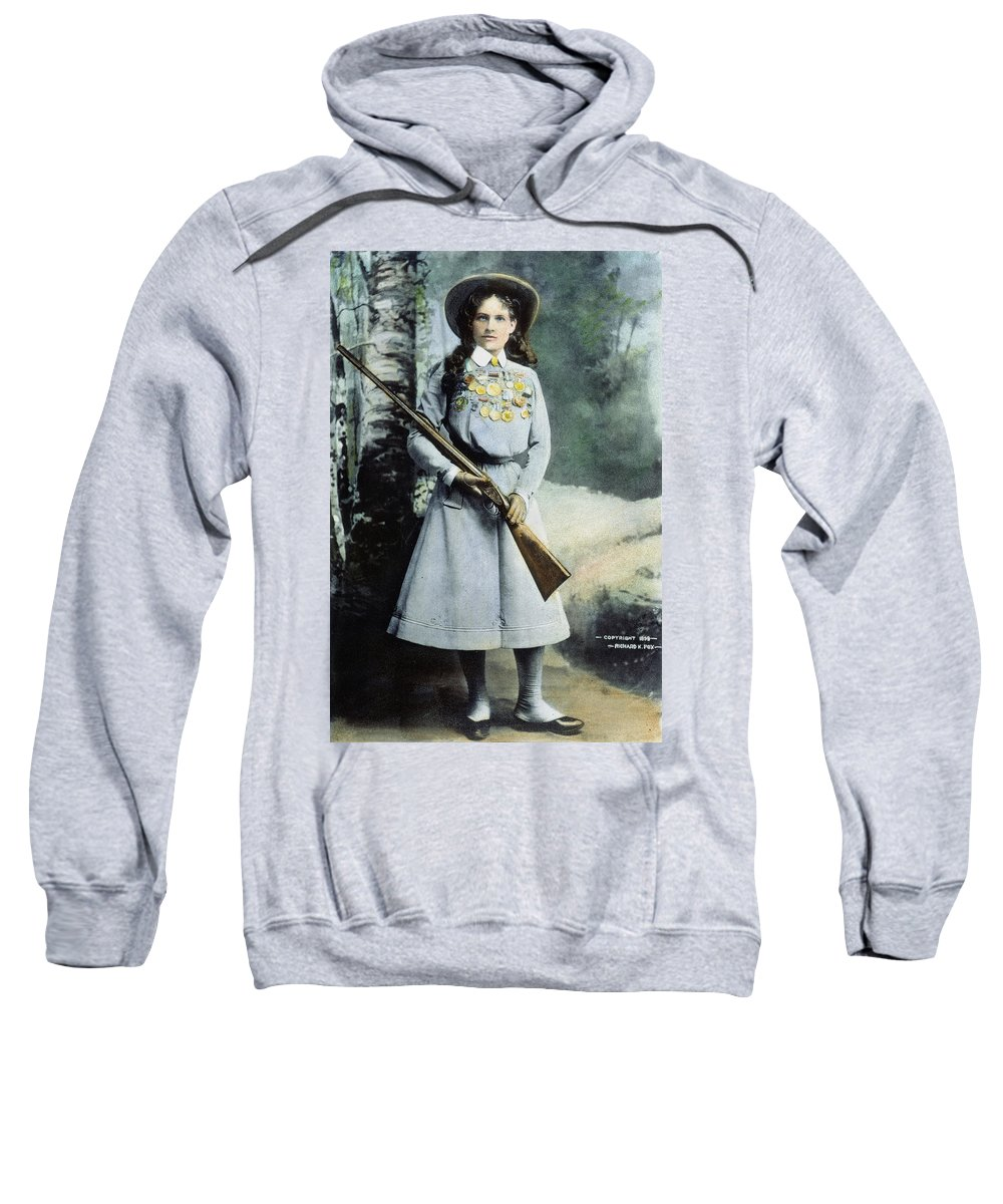1899 Sweatshirt featuring the photograph Annie Oakley (1860-1926) by Granger