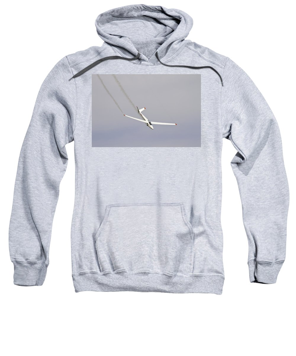 Plane Sweatshirt featuring the photograph Glider Flying Aerobatics At Airshow Canvas Photo Poster Print by Keith Webber Jr