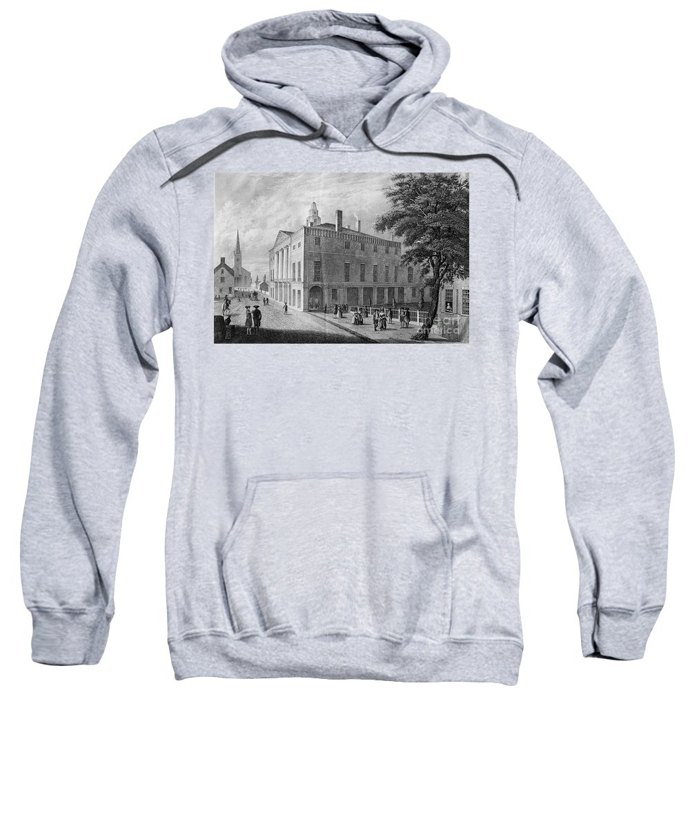 1789 Sweatshirt featuring the photograph New York: Federal Hall by Granger