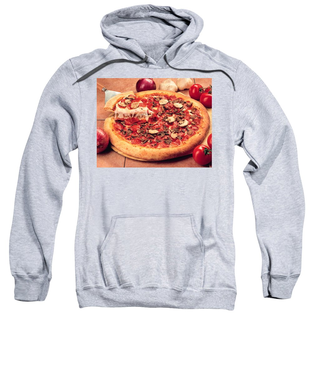 Pizza Sweatshirt featuring the photograph Pizza by Mike Penney